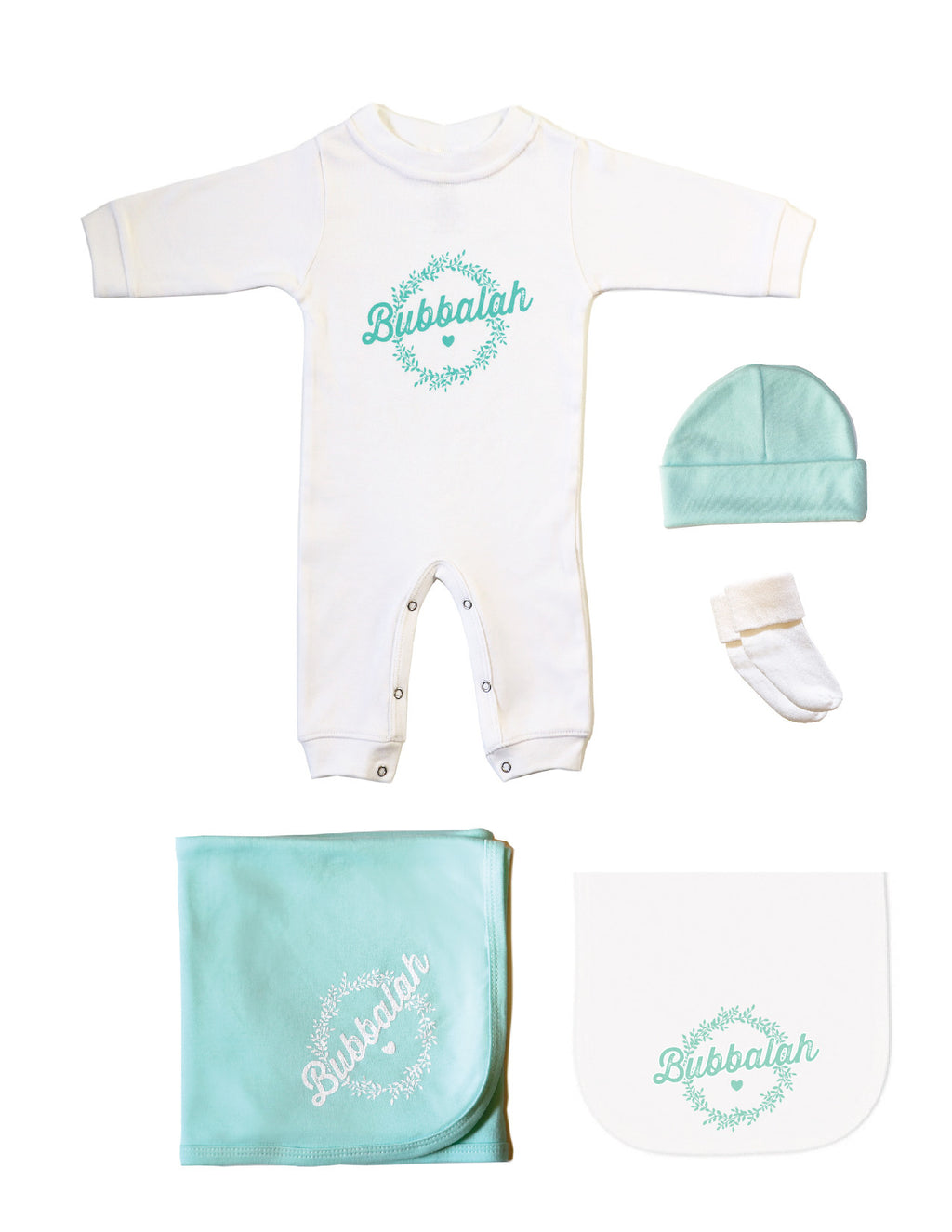 Green infant baby newborn clothing gift set with sleep and play, hat, socks, blanket, burp cloth with Yiddish design saying