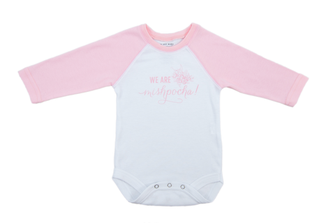 We are Mispocha Rose Petal Raglan Sleeve Onesie
