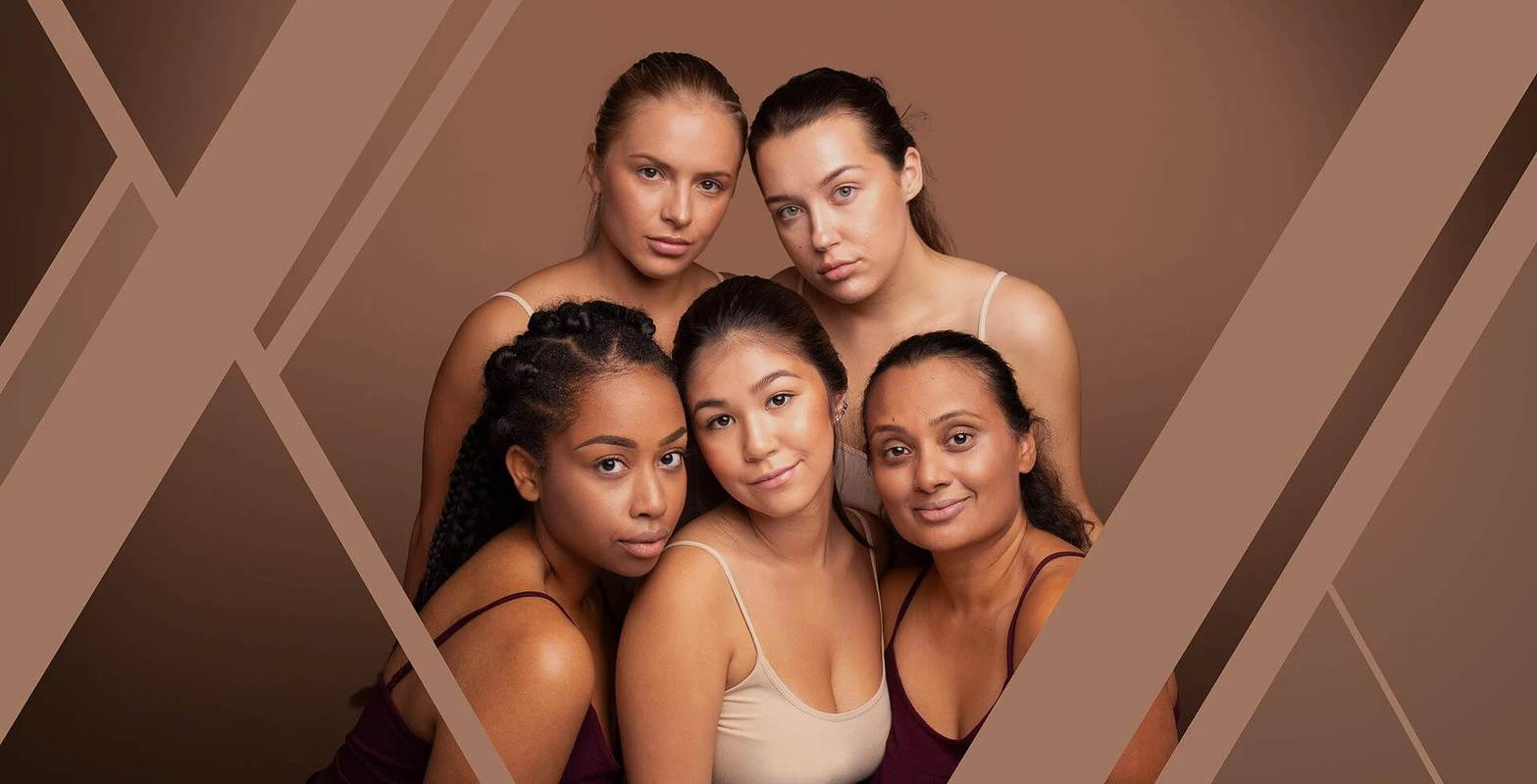 Five Beautiful Women of Mixed Ethnicity Wearing Puzzle Makeup