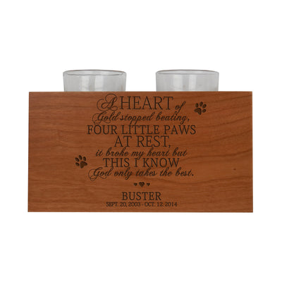 "LifeSong Milestones Personalized Pet Memorial Double Votive Tea Light Candle Holder Sympathy Remembrance Gift Custom Engraved Cherry Wood 4""x3""x7""."