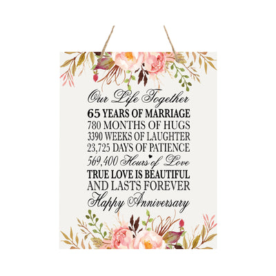 "LifeSong Milestones Inspirational Wooden Wedding Anniversary Rope Sign - 12""x15"" Home Decor for Newly Married Couple, Parents, Grandparents Wall Decor Housewarming Gift"