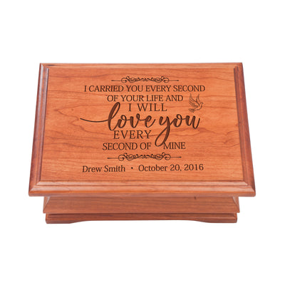 Personalized Wooden Memorial Jewelry Box Organizer 11.5x8.25 – I Carried You Every Second
