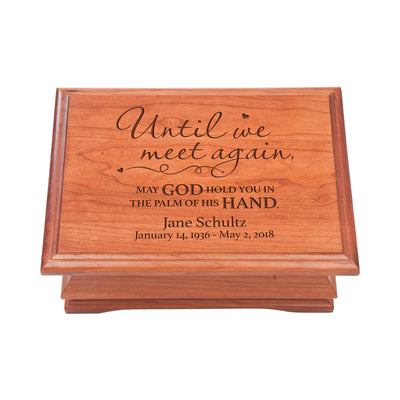 Personalized Wooden Memorial Jewelry Box Organizer 11.5x8.25 – Until We Meet Again