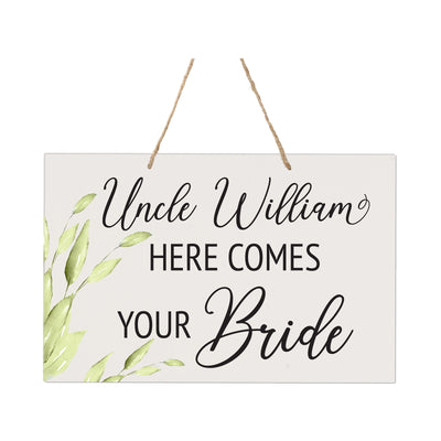 LifeSong Milestones Inspirational Modern Wooden Wall Hanging Rope Sign for Wedding 8 x 12 - (Uncle Here Comes Your) Home Wall Decor Celebration Gift for Parents, Grandparents, New Couple Housewarming Gift