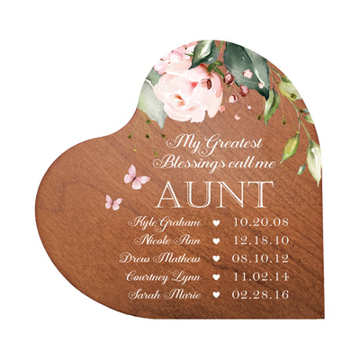 Lifesong Milestones Personalized Inspiring Aunt's Love Wooden Heart Block 5in Great - My Greatest Blessings - Aunt The perfect way to celebrate a new home, anniversary, and family traditions