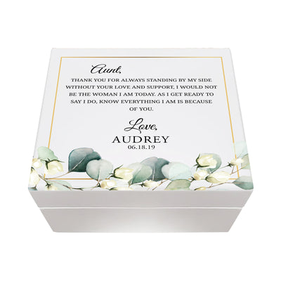 LifeSong Milestones Personalized Memorable Aunt's White Keepsake Box 6x5.5 with inspiring verse - Thank You Housewarming keepsake gift for your beloved Aunt. Perfect gift to hold your watches, rings, cufflinks, bracelets, necklaces & special mementos