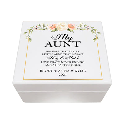 LifeSong Milestones Personalized Memorable Aunt's White Keepsake Box 6x5.5 with inspiring verse - Aunt Thank You For Always Housewarming keepsake gift for your beloved Aunt. Perfect gift to hold your watches, rings, cufflinks, bracelets, necklaces & special mementos