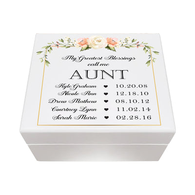 LifeSong Milestones Personalized Memorable Aunt's White Keepsake Box 6x5.5 with inspiring verse - Greatest Blessings Housewarming keepsake gift for your beloved Aunt. Perfect gift to hold your watches, rings, cufflinks, bracelets, necklaces & special mementos