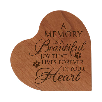 Lifesong Milestones Engraved Memorial Heart Block Urn for Pet 5in with inspirational verse - (A Memory) Engraved Wooden Heart Block Cremation Urn Keepsake Funeral Condolence Remembrance