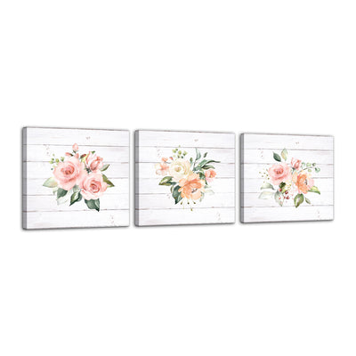 Floral 3pc Set Canvas Wall Art Framed Modern Wall Decor Decorative Accents For Wall Ready to Hang for Home Living Room Bedroom Entryway Kitchen Office Size 3pc Set