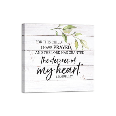 "For This Child I Have Prayed Inspirational Children Canvas Wall Art Framed Modern Wall Decor Decorative Accents For Wall Ready to Hang for Home Living Room Bedroom Entryway Size 20""x 20"""