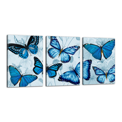 "3pc Butterfly Set Canvas Wall Art Framed Modern Wall Decor Decorative Accents For Wall Ready to Hang for Home Living Room Bedroom Entryway Size 16"" x 24"""