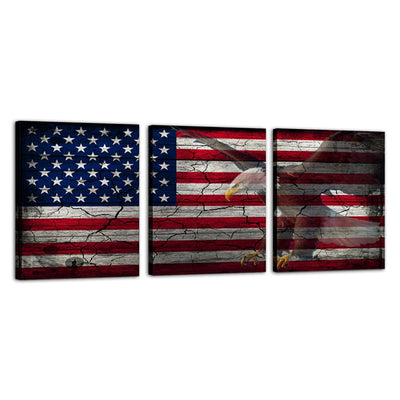 "American Eagle American Flag Canvas Wall Art Framed Modern Wall Decor Decorative Accents For Wall Ready to Hang for Home Living Room Bedroom Entryway Each Panel Size 12"" x 16"" (3pc set)"