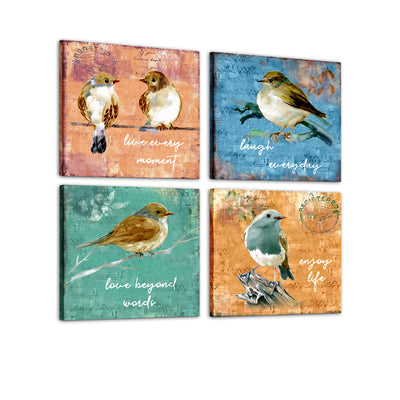 "Bird Canvas Wall Art Modern Wall Decor Decorative Accents For Wall Ready to Hang for Home Living Room Bedroom Entryway Each Panel Size 12"" x 12"" (4pc set)"