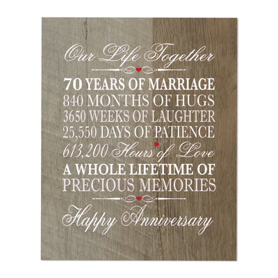 Inspirational 70th Wedding Anniversary Wall Plaque in Spanish verse 8x10