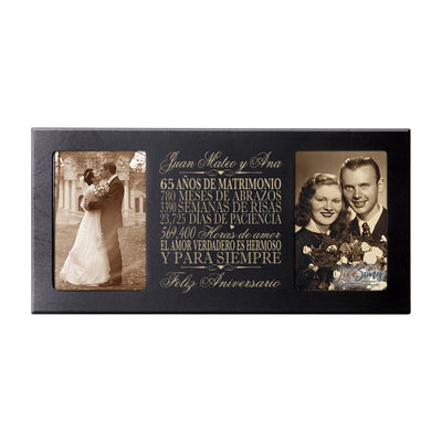 Personalized 65th Anniversary Picture Frame Holds 2-4x6 Photo (Spanish Verse)