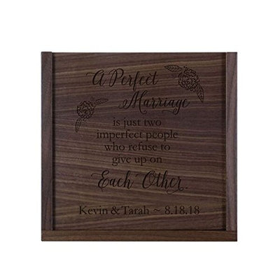 Personalized A Perfect Marriage Wooden Wedding Card Box