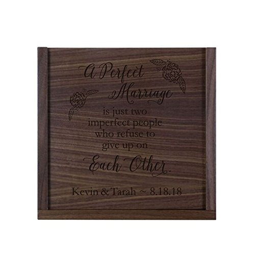 "LifeSong Milestones Personalized A Perfect Marriage Wooden Wedding Card Box Custom 13"" l x 13"" w x 5"" t Card Holder with Sliding Top"