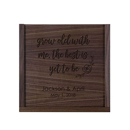 LifeSong Milestones Personalized Grow Old With Me Wooden Wedding Card Box Custom with Sliding Top