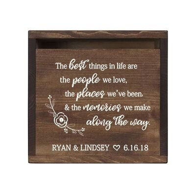 LifeSong Milestones Personalized The Best Things Rustic Wedding Custom Card Box with Front Slot