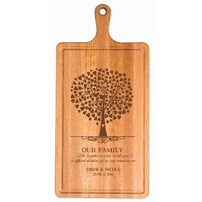 "Personalized Cherry Cutting Board OUR FAMILY Like Branches First Names and Date for bride and groom Wedding Anniversary Gift Ideas for Him, Her, Couples Established Dates to Remember 15.75""w x 7.75""h"