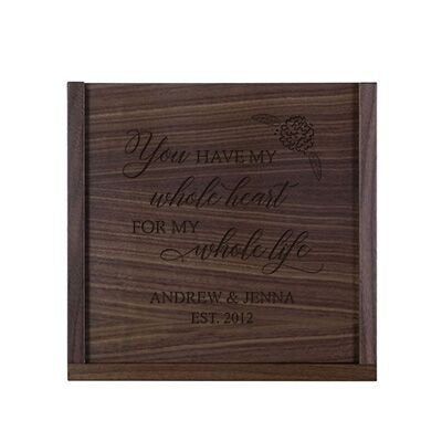 LifeSong Milestones Personalized You Have My Whole Heart Wooden Wedding Card Box with Sliding Top