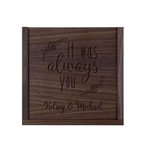 "LifeSong Milestones Personalized It Was Always You Wooden Wedding Card Box Custom 13"" l x 13"" w x 5"" t Card Holder with Sliding Top"