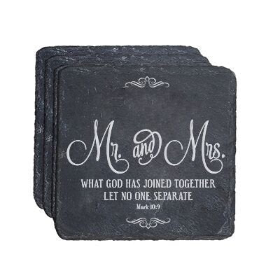 Personalized Anniversary 4 Pc Coaster Set - Mr. & Mrs.