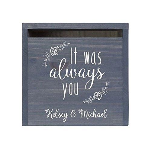 LifeSong Milestones Personalized It Was Always You Rustic Wedding Custom Card Box with Front Slot