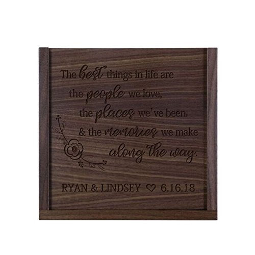 "LifeSong Milestones Personalized The Best Things Wooden Wedding Card Box Custom 13"" l x 13"" w x 5"" t Card Holder with Sliding Top"