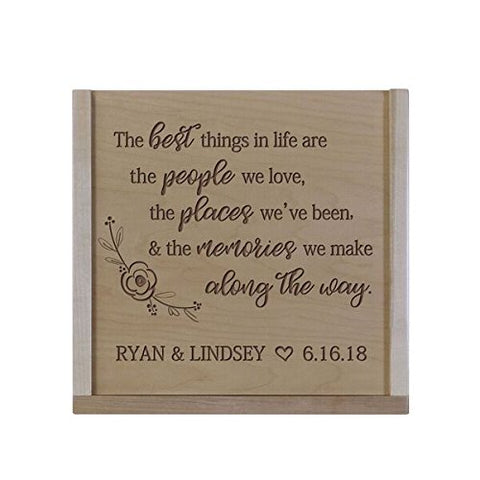 Personalized The Best Things Wooden Wedding Card Box with Sliding Top