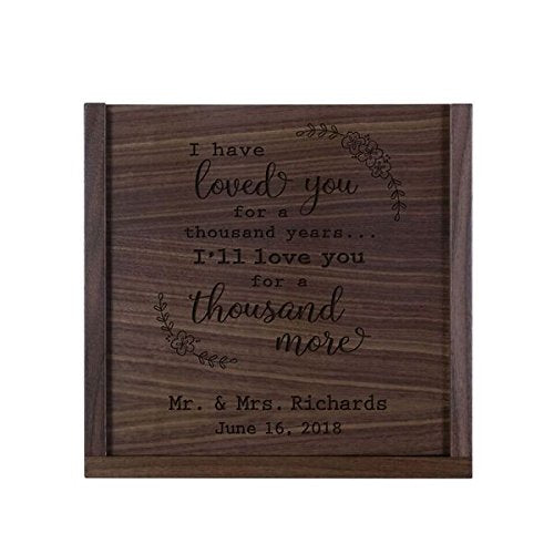 "LifeSong Milestones Personalized I Have Loved You Wooden Wedding Card Box Custom 13"" l x 13"" w x 5"" t Card Holder with Sliding Top"
