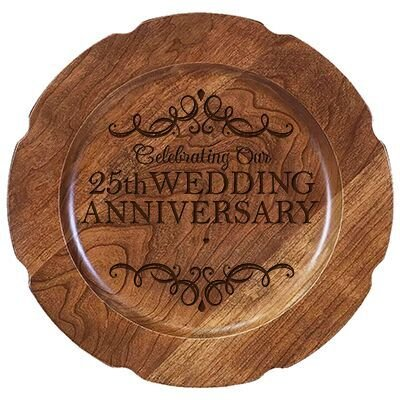 "Personalized 25th Wedding Anniversary Cherry Cake Stand Gift 10"" Custom Engraved for Husband or Wife by LifeSong Milestones (25th Year with Special Dates)"