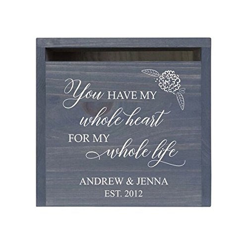 LifeSong Milestones Personalized You Have My Whole Heart Rustic Wedding Custom Card Box - Front Slot