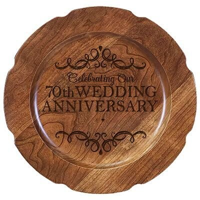 "Personalized 70th Wedding Anniversary Cake Stand for Couple, Custom Happy Seventieth Anniversary Gifts for Her 12"" D Custom Engraved for Husband or Wife USA Made"