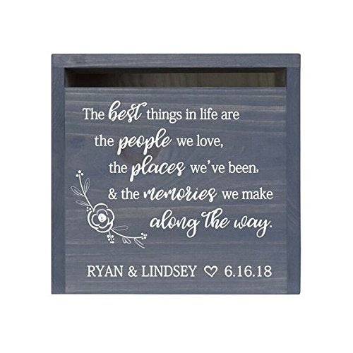 Personalized The Best Things Rustic Card Box with Front Slot