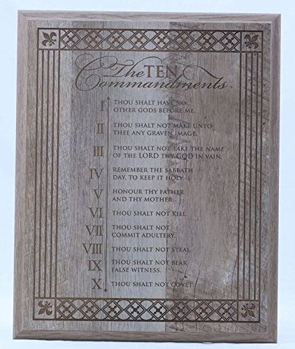 The Ten Commandments solid wood wall plaque Gift