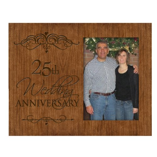 25th Silver Wedding Anniversary Photo Frame Holds 4x6 Photo Cherry Wood