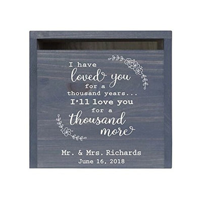 Personalized I Have Loved You Wedding Card Box with Front Slot