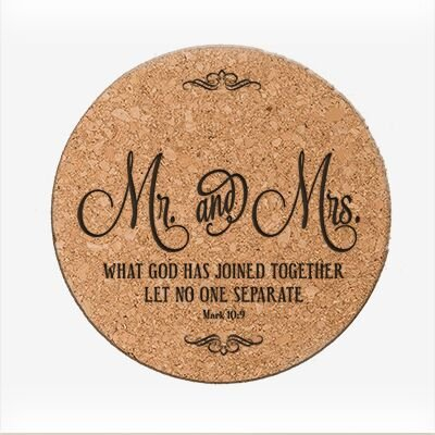 Personalized Wedding Anniversary Cork Coaster - Mr. & Mrs.