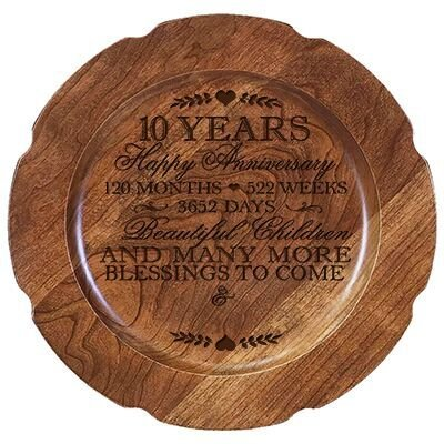 "Personalized 10th Wedding Anniversary Cherry Cake Stand Gift Happy for Him 10"" Custom Engraved for Husband or Wife by LifeSong Milestones (10th Year with Hearts)"