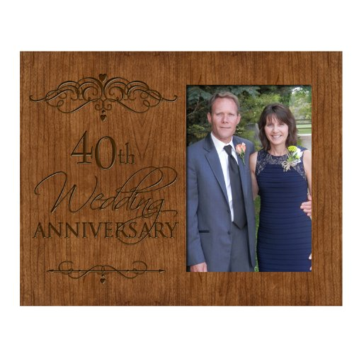 40th Wedding Anniversary Photo Frame Holds 4x6 Photo Cherry Wood