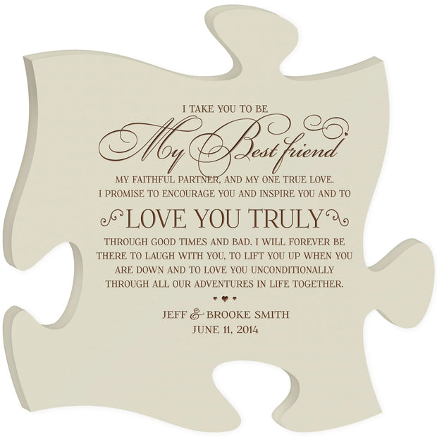 Personalized Wedding Puzzle Piece Sign Wall Art