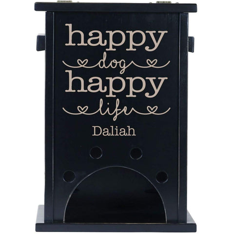 Personalized Pine Pet Toy Box - Happy Dog Happy Life Black