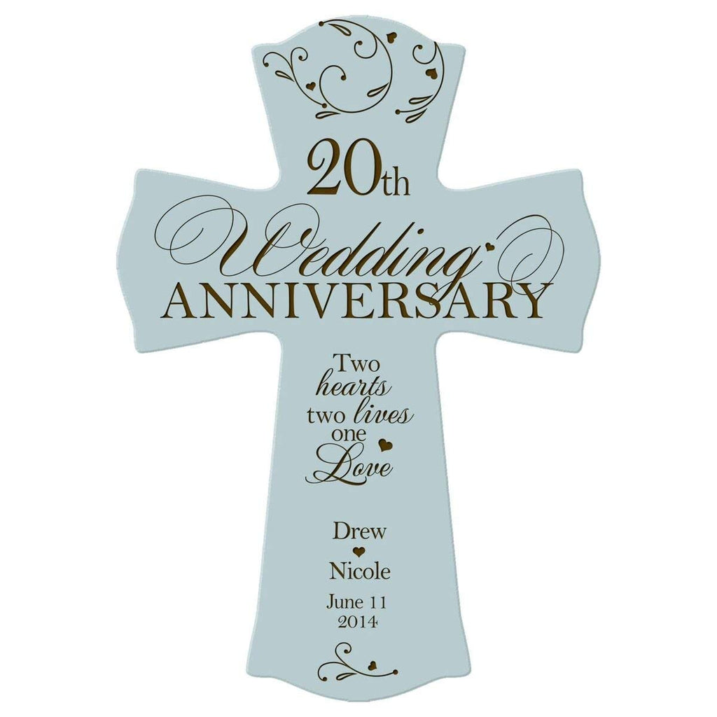 Twentieth Wedding Anniversary Gift: Personalized 20th Anniversary Engraved Wall Cross