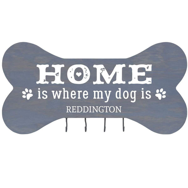 "Personalized Home is Where Wall Mounted Dog Bone Pet Leash Rack,Dog Collar Holder New Home Decor Gift ideas and 4 hooks 16"" L x 8"" H 2.5."" deep by Rooms Organized"