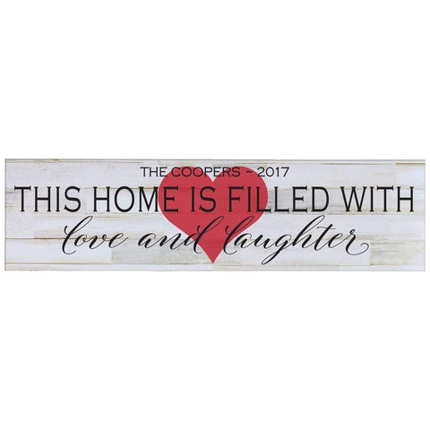 Personalized Home Decor Wall Plaques - Distressed White This Home Is Filled Red Heart