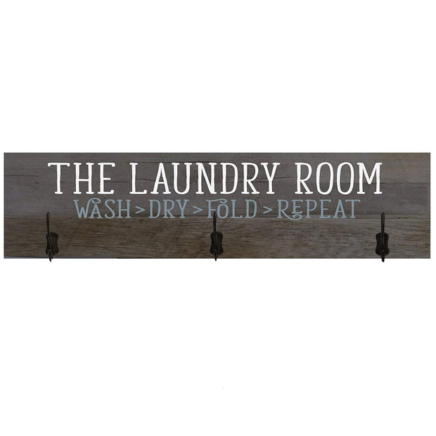 Laundry Room Wash Dry Fold Repeat Coat Rack Wall Sign