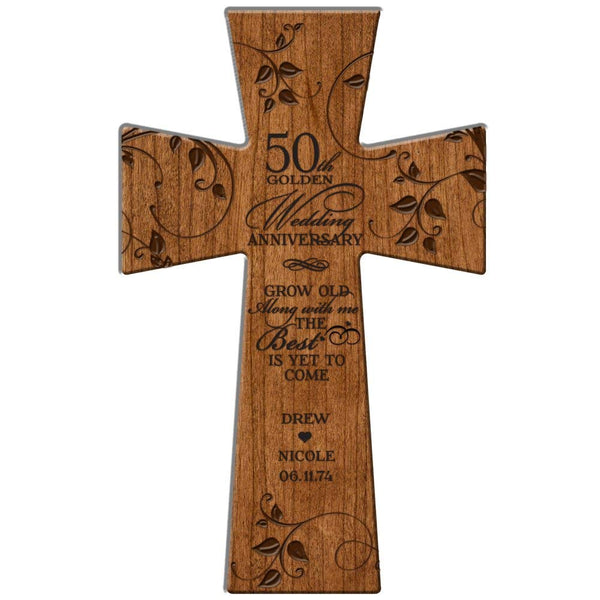 "50th Wedding Anniversary Gifts Personalized Wall Cross "" Grow Old Along with Me the Best Is Yet to Come"" Made in USA of Solid Cherry Wood"