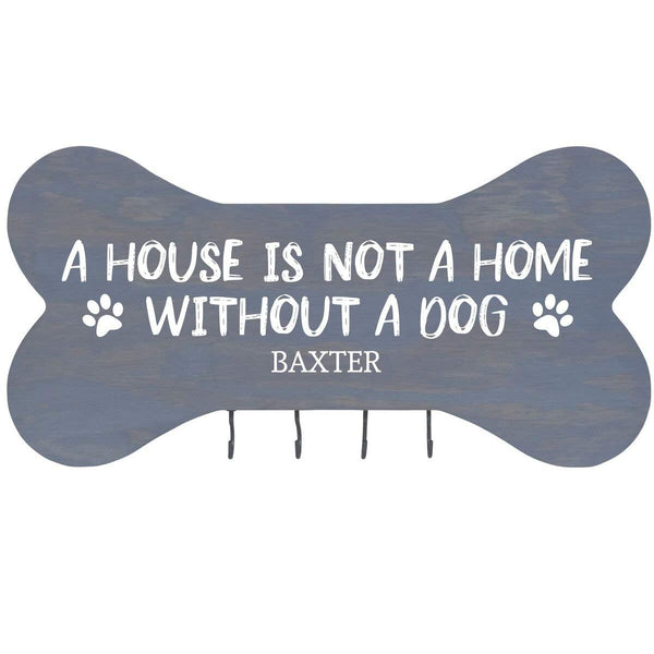 "Personalized Wall Mounted A House is Not a Home without a Dog. Dog Bone Pet Leash Rack,Dog Collar Holder New Home Decor Gift ideas and 4 hooks 16"" L x 8"" H 2.5."" deep by Rooms Organized"